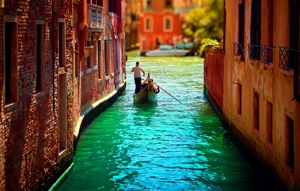 Picture water, home, channel, gondola, Venice, Italy, italy, venice