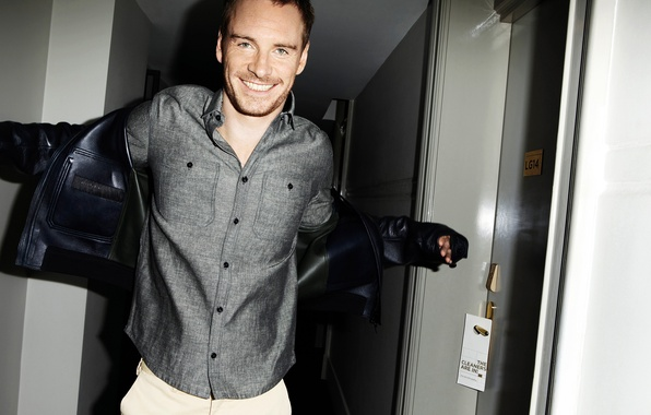 Picture smile, jacket, actor, male, shirt, grey, Michael Fassbender, Michael Fassbender