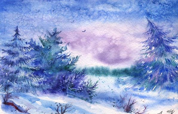 Picture winter, snow, birds, watercolor, tree, painted landscape