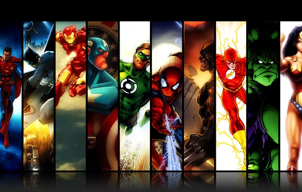 Picture Wonder Woman, Hulk, Batman, Wolverine, Iron Man, Green Lantern, Captain America, Superman, superheroes, Marvel Comics, …
