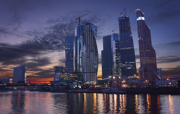 Picture Sunset, The sky, River, Skyscrapers, Moscow, Russia, Moscow-City