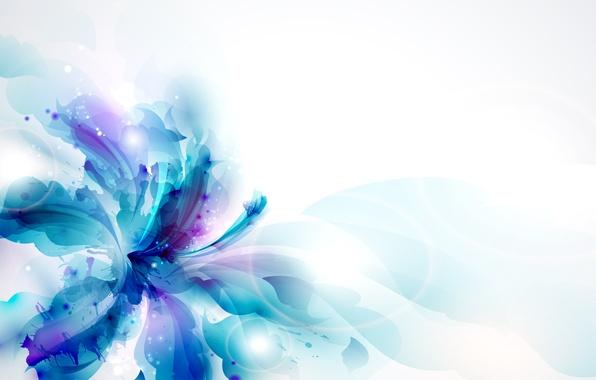 Picture flower, squirt, blue, petals, brightness, pistil