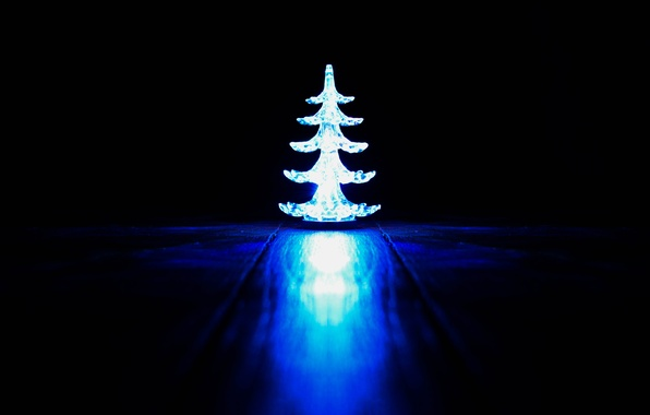 Picture light, New year, Tree, black background, new year, hardwood floors, blue light, 2015, usb tree