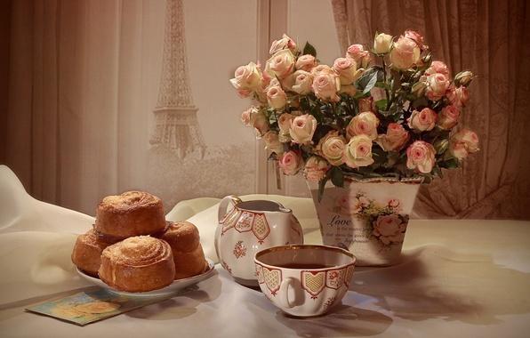 Picture tea, roses, bouquet, still life, cakes