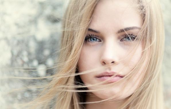 Picture girl, face, hair, portrait, blonde, bokeh