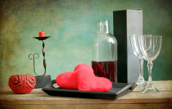 Picture wine, red, candles, heart, glasses, tray