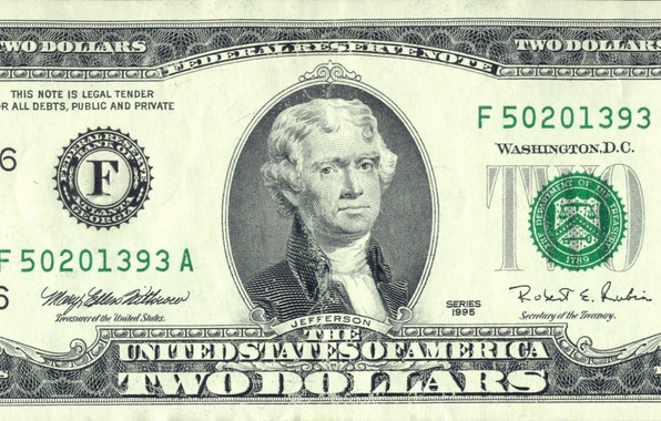 Picture note, two, dollar, federal, Jefferson, legal