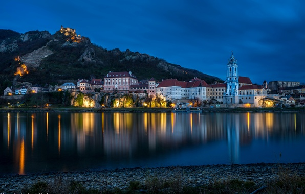 Picture water, landscape, night, lights, reflection, river, stones, shore, mountain, home, Austria, lights, promenade, Dürnstein