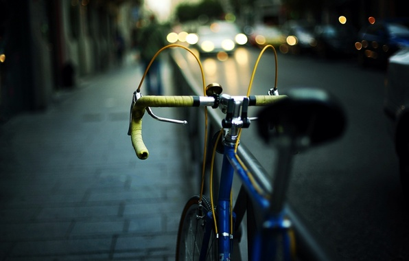 Picture road, car, machine, bike, city, the city, lights, background, Wallpaper, street, mood, lights, blur, the ...