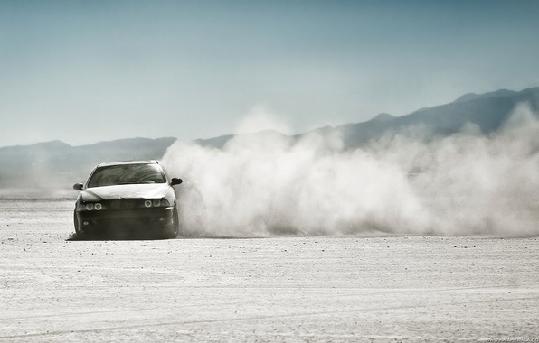Picture desert, dust, BMW, skid, drift
