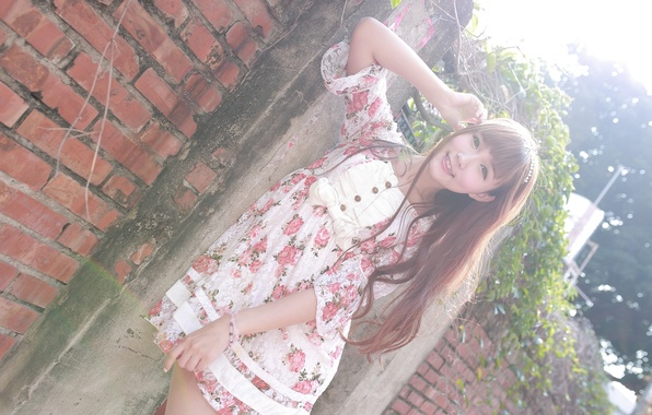Picture summer, look, girl, face, hair, dress, Asian