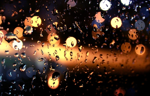 Picture glass, drops, night, lights, rain, bokeh