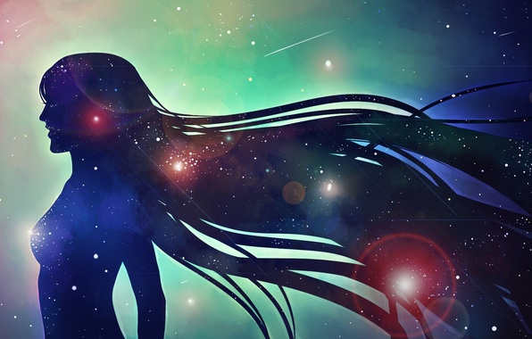 Picture girl, space, stars, silhouette, profile, long hair