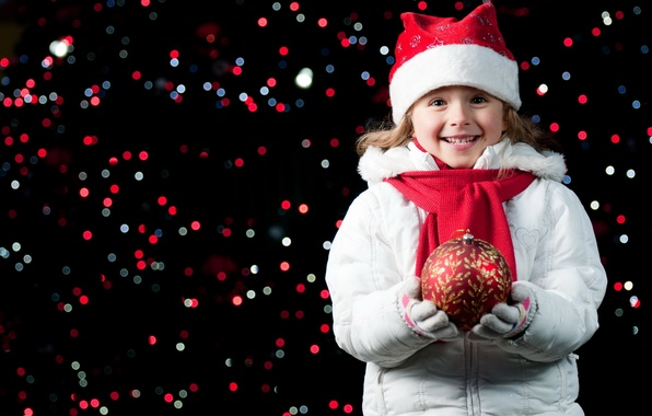 Picture joy, happiness, night, lights, smile, mood, holiday, hat, new year, ball, child, girl, gloves, new …