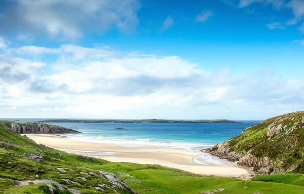 Picture sea, beach, the sky, clouds, landscape, nature, rocks, Scotland, Scotland, Alba