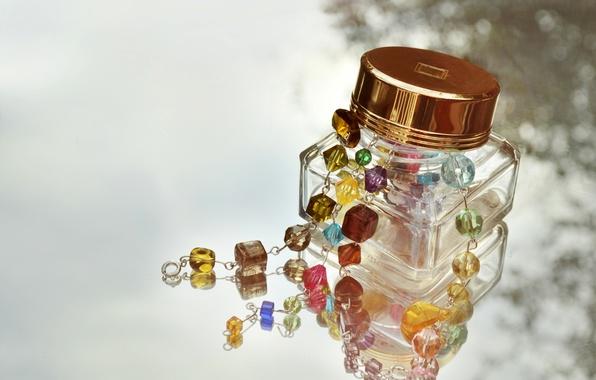 Picture glass, stones, decoration, jar