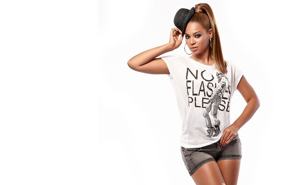 Picture hat, white background, Beyonce Knowles, well