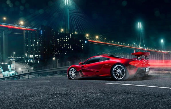 Picture McLaren, Light, Red, Bridge, Supercar, Spoiler, Rear