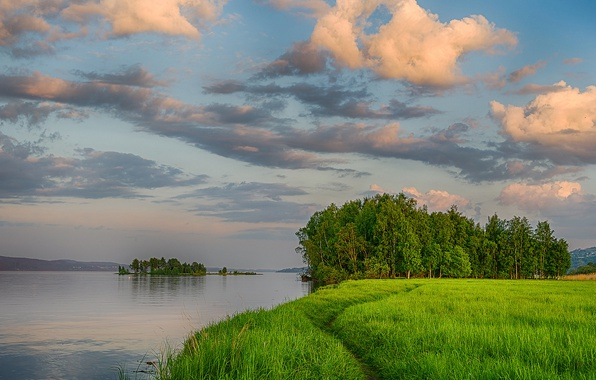 Picture greens, summer, the sky, grass, clouds, trees, river, shore, the evening, island, path