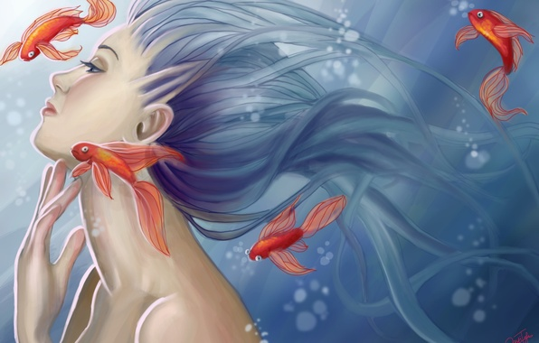 Picture look, water, fish, bubbles, mermaid, art, profile