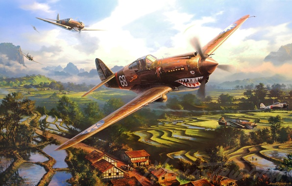 Picture war, art, painting, aviation, artwork, drawing, ww2, a6m zero, p-40 tomahawk, flying tygers