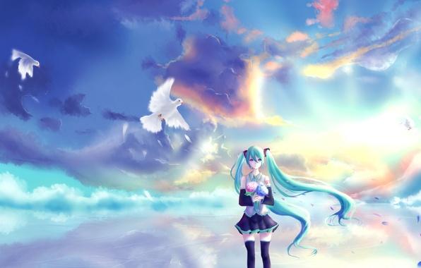 Picture the sky, girl, clouds, sunset, flowers, bouquet, anime, petals, art, pigeons, vocaloid, hatsune miku