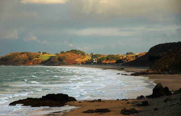 Picture wave, beach, clouds, clouds, Bay, Brittany, Côtes d'armor