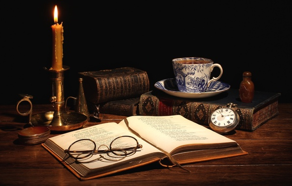 Picture tea, watch, books, candle, glasses, Cup, still life