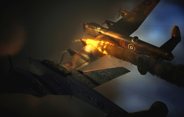 Picture fire, flame, graphics, fighter, art, bomber, aircraft, British, strategic, heavy, German, WW2, four-engine, Avro 683 …