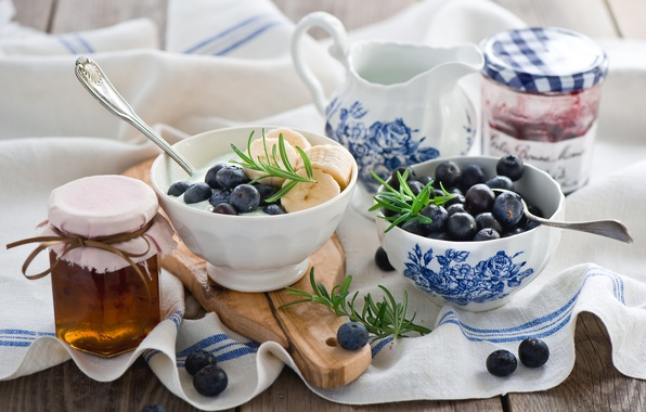 Picture berries, Breakfast, blueberries, honey, bananas, honey, jam, Anna Verdina