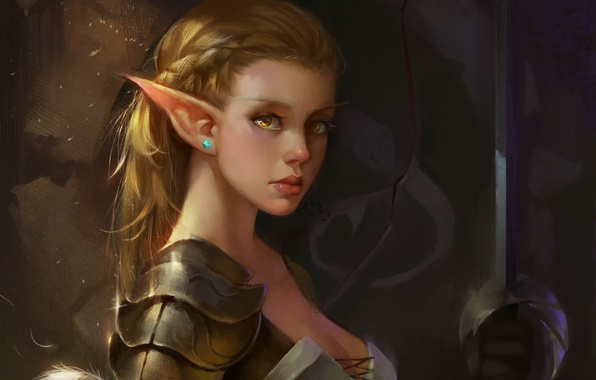 Picture look, face, weapons, sword, fantasy, elf, fantasy, ears
