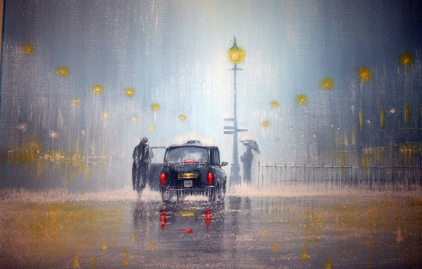 Picture machine, light, rain, lights, people, umbrella, lights, Jeff Rowland