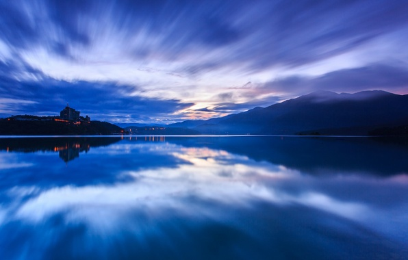 Picture the sky, water, sunset, mountains, clouds, lake, surface, reflection, blue, the evening, China, Taiwan, haze, …