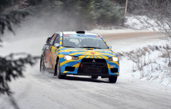 Picture race, Winter, Snow, Mitsubishi, Lancer, Rally, Rally, Lancer, The front