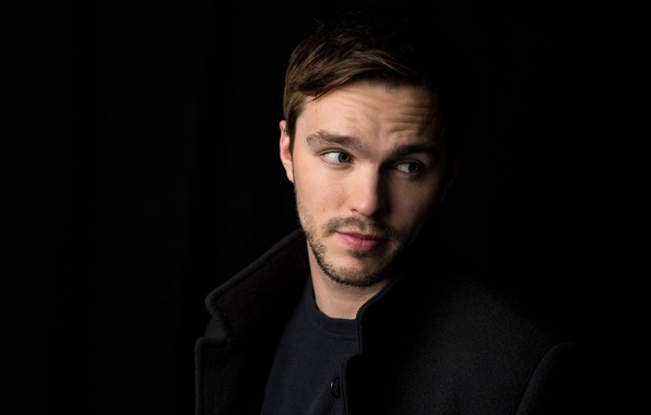 Picture actor, black background, coat, photoshoot, Nicholas Hoult, Nicholas Hoult, Amy Sussman