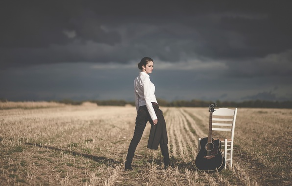 Picture field, girl, guitar, chair