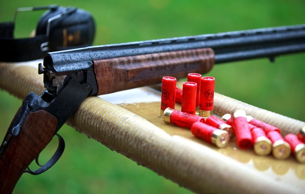 Picture drops, nature, rain, blur, headphones, shooting, camouflage, the gun, cartridges, equipment, charges, the shooting range, …