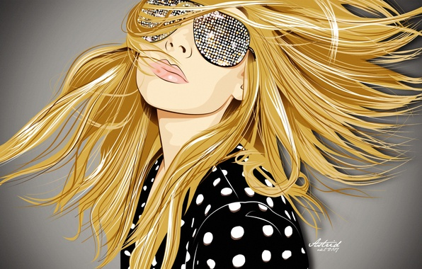 Picture girl, face, style, Wallpaper, hair, graphics, vector, art, glasses, blonde