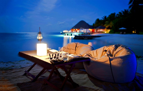 Picture beach, the ocean, romance, the evening, beach, ocean, view, evening, romantic, dinner, dinner