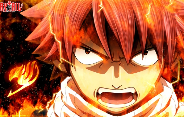 Picture fire, flame, anime, art, rage, Fairy Tail, Tale of fairy tail, Natsu Dragneel, deiviscc