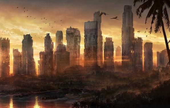 Picture sea, sunset, birds, the city, palm trees, coast, building, art, devastation, parrots, ruins, Singapore, postapocalyptic, …