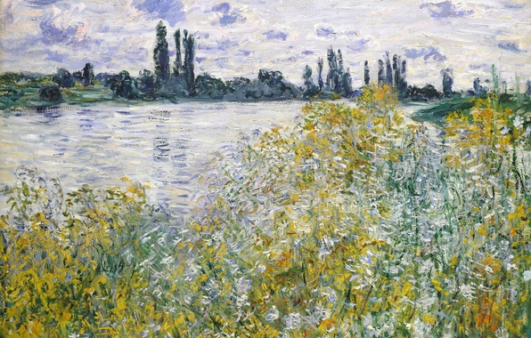 Photo wallpaper Claude Monet, picture, Island of Flowers on the Seine near Vetea, landscape