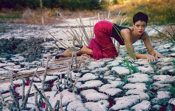 Picture grass, girl, pose, earth, singer, rihanna, photoshoot