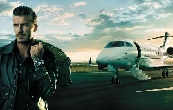 Picture the plane, watch, David Beckham, David Beckham, Breitling