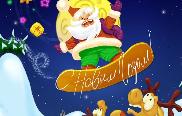 Picture snowboard, new year, Christmas, Santa Claus