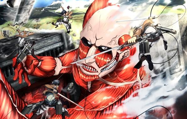 Picture girl, weapons, anime, art, guys, the battle, Titan, ifragmentix, shingeki no kyojin, mikasa ackerman, eren …