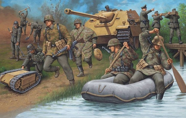 Photo wallpaper war, figure, crossing, the Germans, Jagdpanther, the army corps of engineers