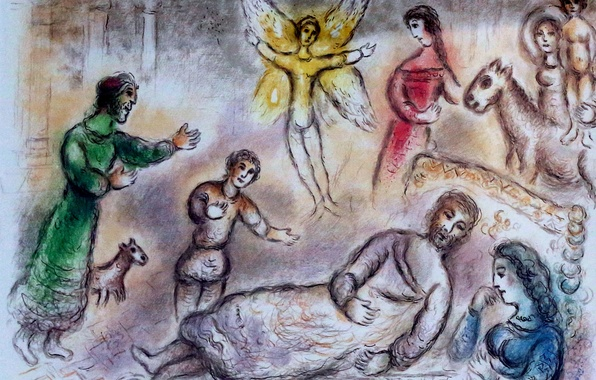 Photo wallpaper 1975, Russian, French artist, Belarusian, Bruges Oud Sint Jan, Marc Chagall, Lithographie, The Odyssey of ...