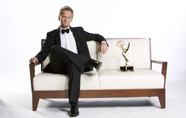 Picture sofa, costume, award, actor, white background, how i met your mother, Neil Patrick Harris