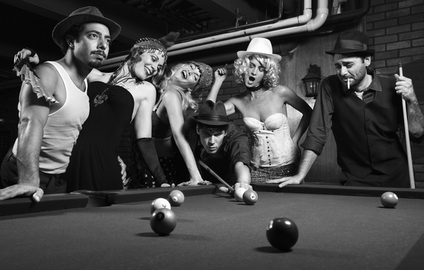 Picture retro, photo, girls, black and white, Billiards, guys, vintage, party, rivalry, pocket billiard, black and …